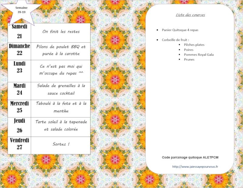 menus semaine 39 - 2019