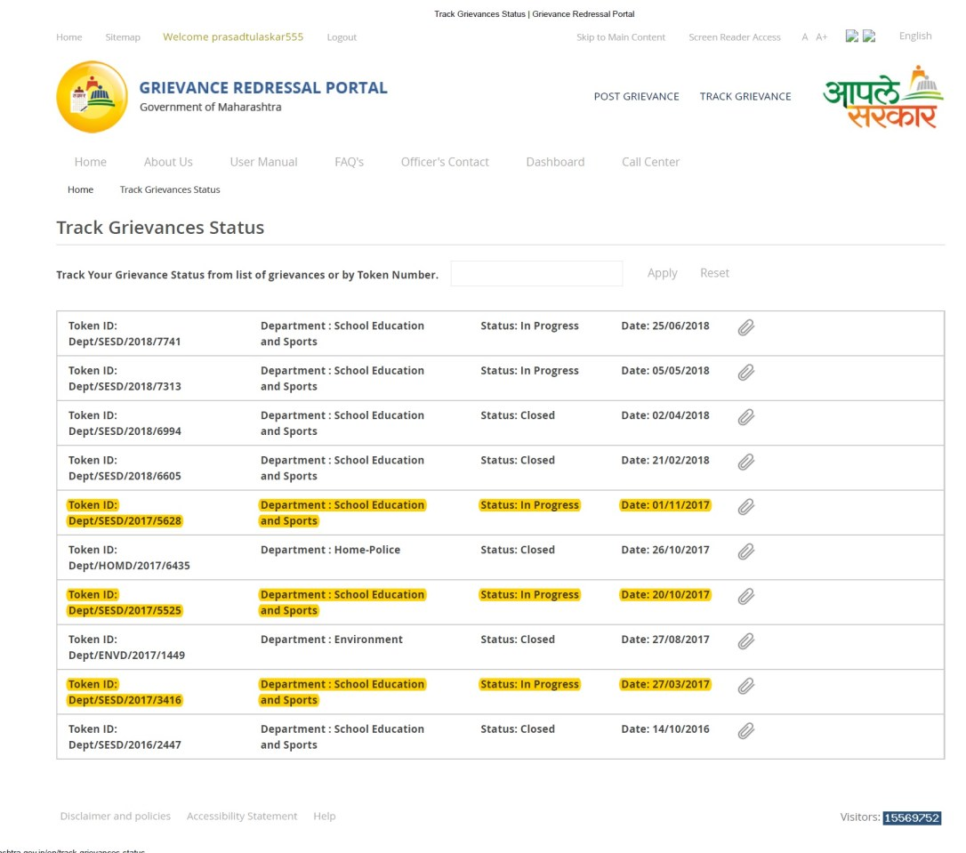 Evidence- Aaple Sarkar Grievance Redressal portal fails miserably by not resolving issues pending for years