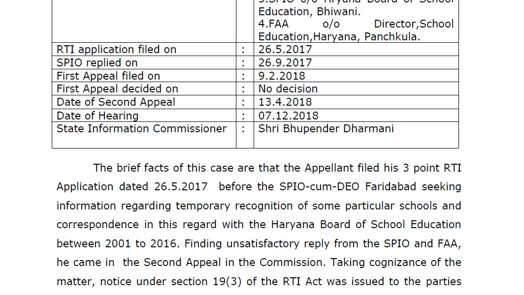 Haryana Education Department Directed to Pay Rs.4000/- Compensation under RTI Act 2005.