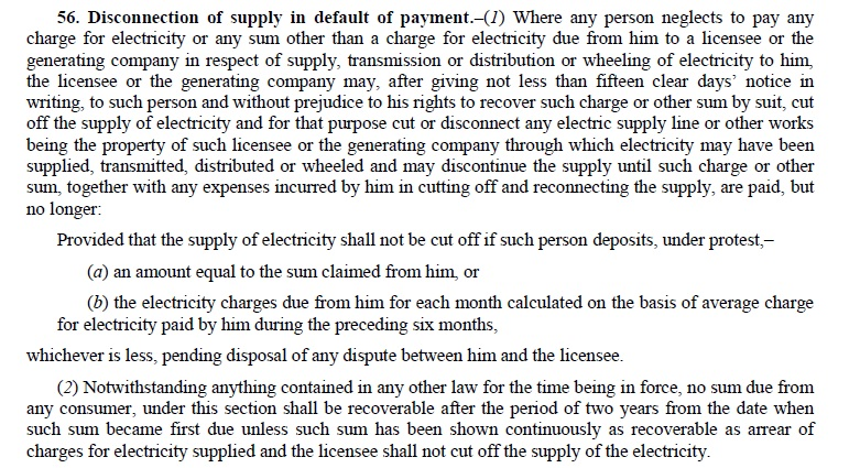 15 Day's Prior Written Notice Must for disconnecting Electricity Connection