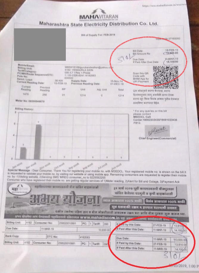 MSEB Rectifies Wrong Electricity Bill Of Rs.14110 to Rs.310/- Fearing Legal Action