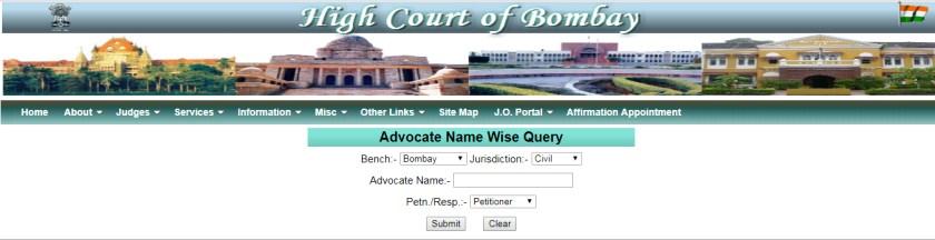मुंबई उच्च न्यायालयाचे आदेश, निर्णय, तारीख पक्षकारानुसार याचिकेची सद्यस्थिती ई. तपासणे