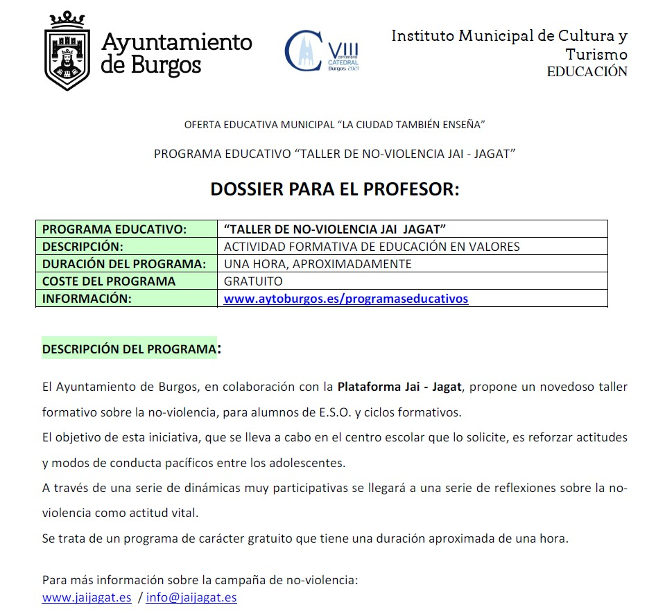 Burgos. Educación en noviolencia