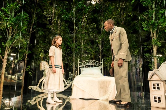 On stage playing Iris alongside Ivanno Jeremiah as Mr Woodnut
