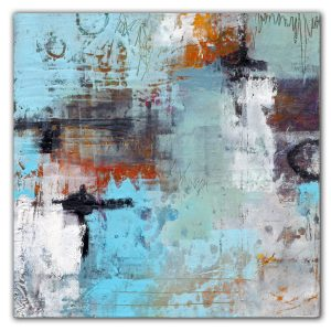 Abstract turquoise oil and cold wax painting