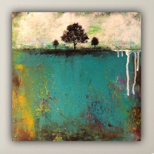 Changing Seasons - abstract landscape oil painting with trees