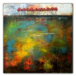 Good Outcome - abstract landscape with red trees oil painting