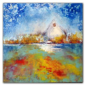 Colorful abstract landscape with white house oil painting
