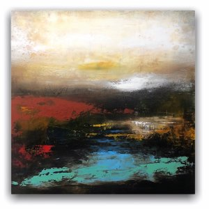 Morning Light abstract landscape oil and cold wax painting