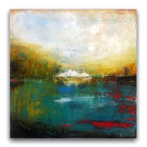 Abstract landscape with water oil and cold wax painting