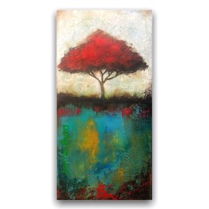 Red tree abstract oil and cold wax painting