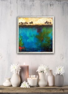 Framed abstract oil and cold wax painting