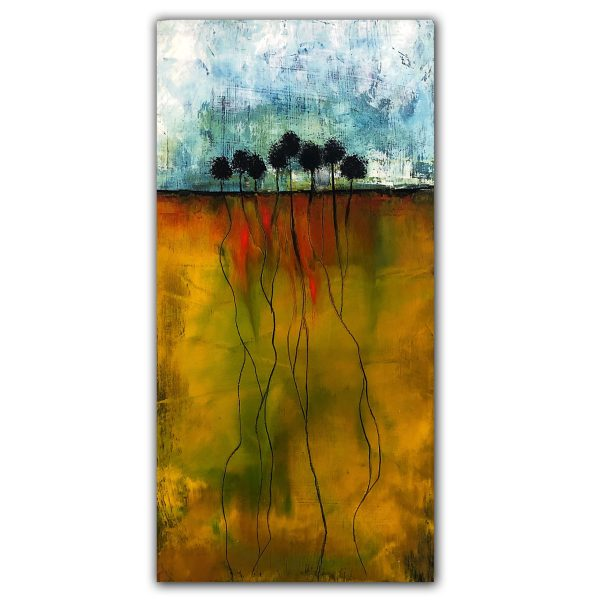Some Roots Run Deep abstract oil painting with trees