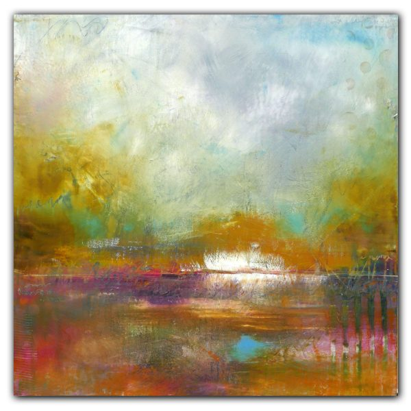 Abstract landscape with water oil painting