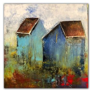 Abstract barn oil and cold wax painting