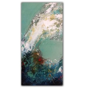 Textured ocean wave oil and cold wax painting