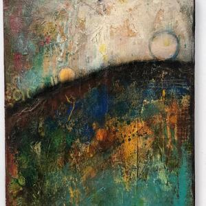 Two Moons Are Better Than None abstract modern acrylic painting