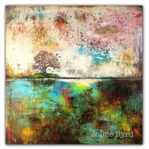 Abstract colorful oil painting with oak tree