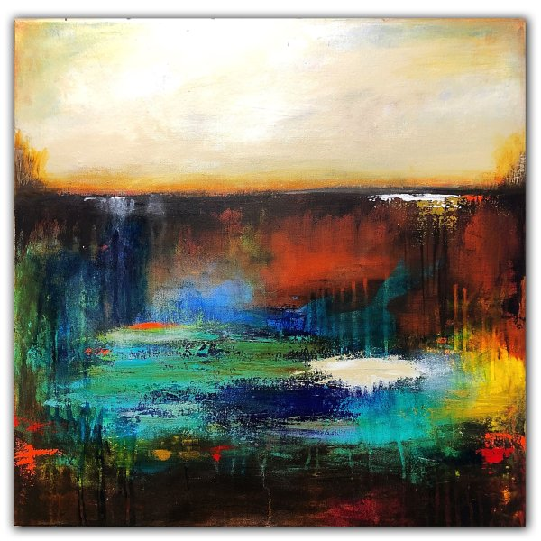Abstract water and sky painting on canvas by Jaime Byrd
