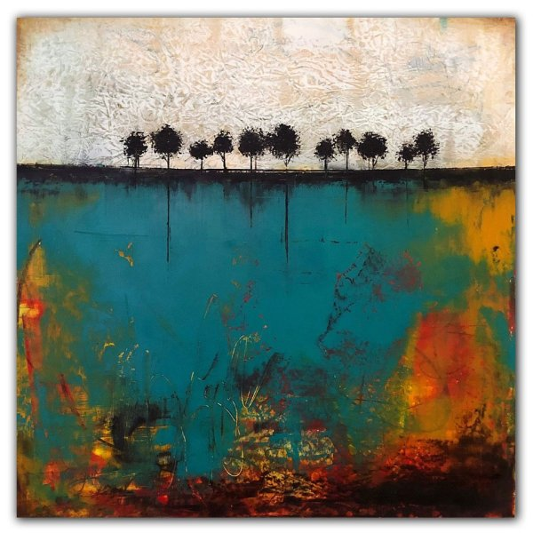 Rooted Deep No. 6 - Abstract landscape oil painting with trees