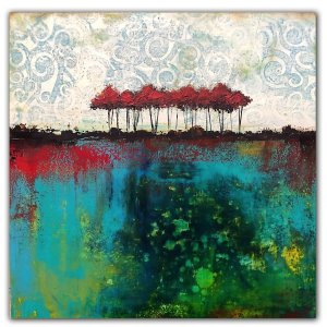 Abstract landscape oil painting on wood panel with red trees by Jaime Byrd