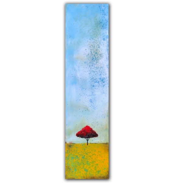 Single red tree and yellow ground abstract landscape oil painting