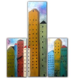 Community Triptych - Oil and Cold Wax painting with buildings by Jaime Byrd