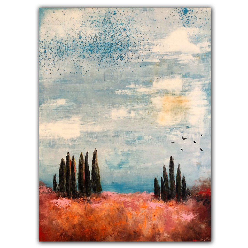 Oil and Cold Wax painting by Jaime Byrd with abstract cyprus trees