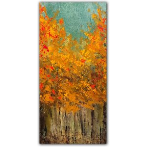 Yellow fall leaf tree painting abstract by Jaime Byrd