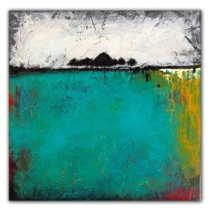 Mixed media abstract landscape painting by Jaime Byrd with trees