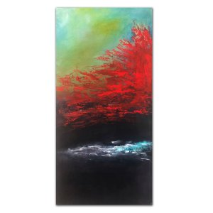 Vibrant red and black abstract oil painting by Jaime Byrd
