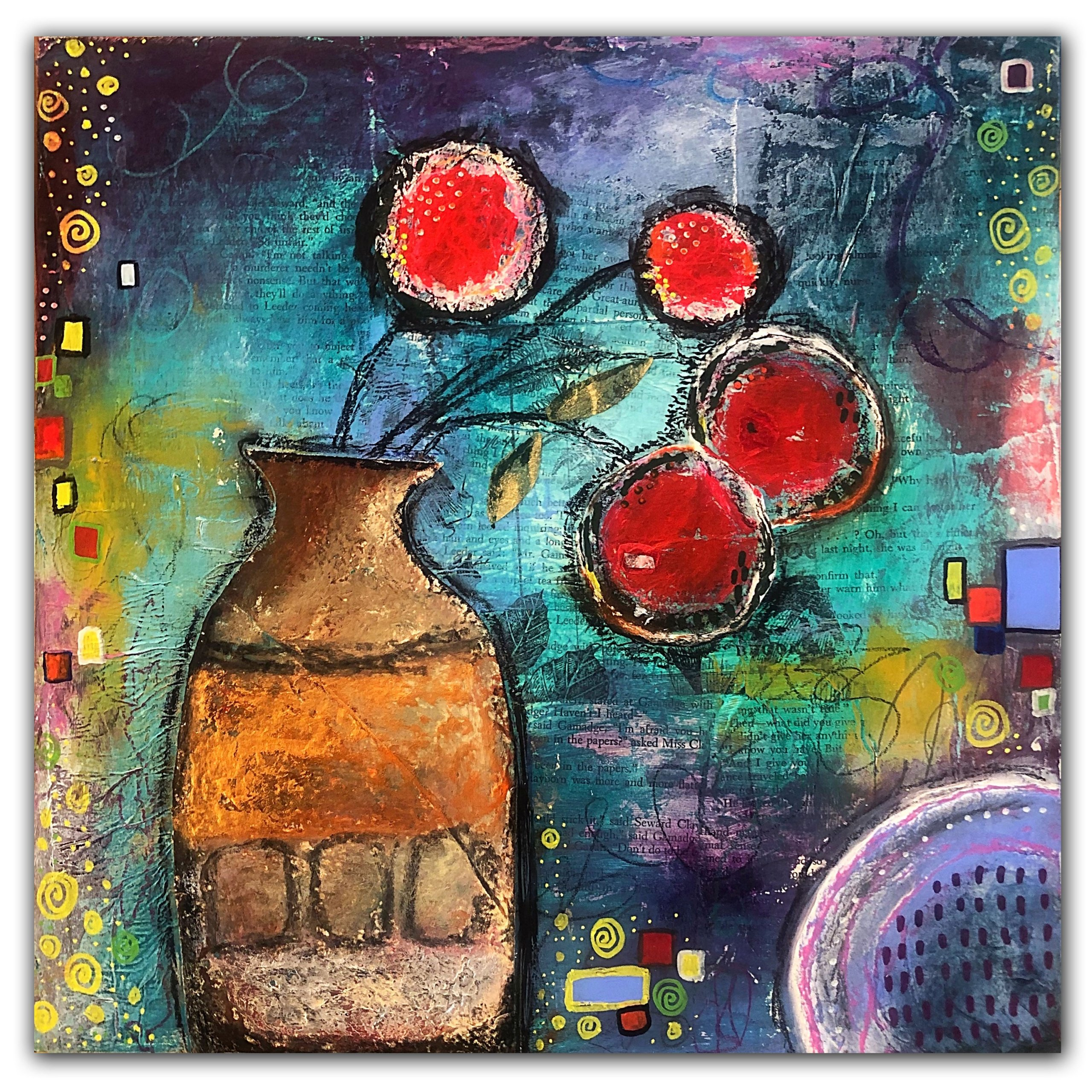 Red flowers in copper vase abstract mixed media painting by Jaime Byrd