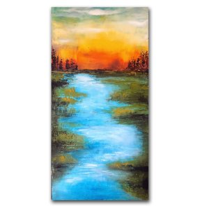 River Run - Abstract landscape oil and cold wax with water by Jaime Byrd