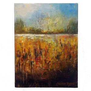 April Bloom - Jaime Byrd oil and cold wax painting