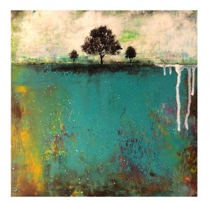 Changing Seasons - abstract landscape oil and cold wax painting by Jaime Byrd