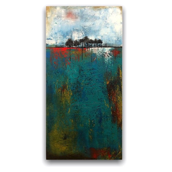 Forest Grove No. 1 - Abstract landscape in oil and cold wax by Jaime Byrd