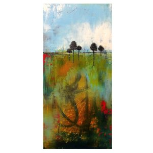 Grounded - oil and cold wax painting by Jaime Byrd with trees