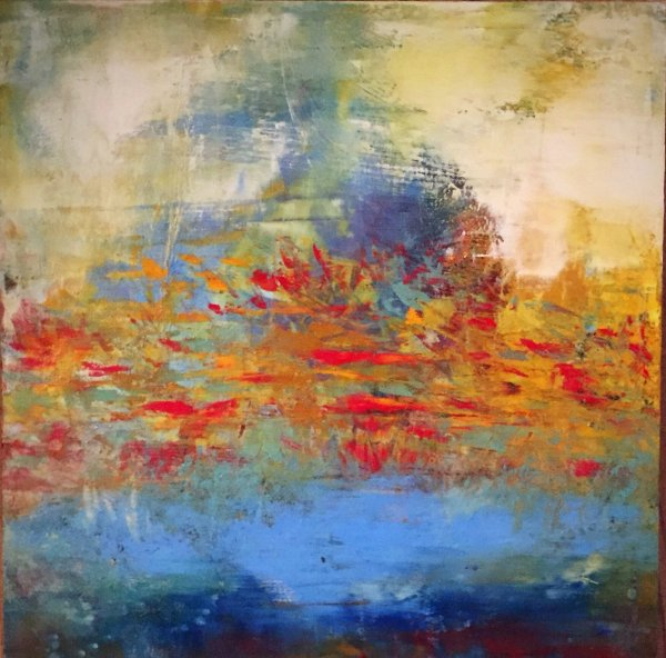 I Love A Spring Breeze - oil and cold wax contemporary painting by Jaime Byrd