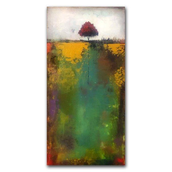 Abstract landscape green and gold oil painting by Jaime Byrd
