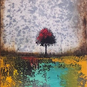 Textured abstract gold and blue tree landscape painting by Jaime Byrd