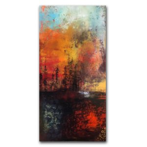 Sky On Fire - Oil and Cold Wax contemporary abstract painting by Jaime Byrd