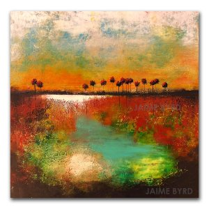 Happy Trails - oil and cold wax contemporary abstract art by Jaime Byrd