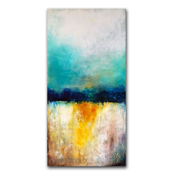 Renewal - Oil and Cold Wax abstract art for sale by Jaime Byrd