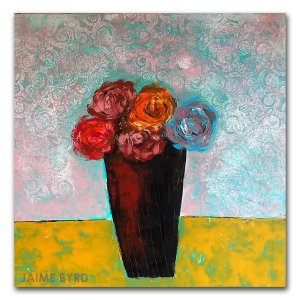 She Bought Flowers - oil and cold wax contemporary painting by Jaime Byrd