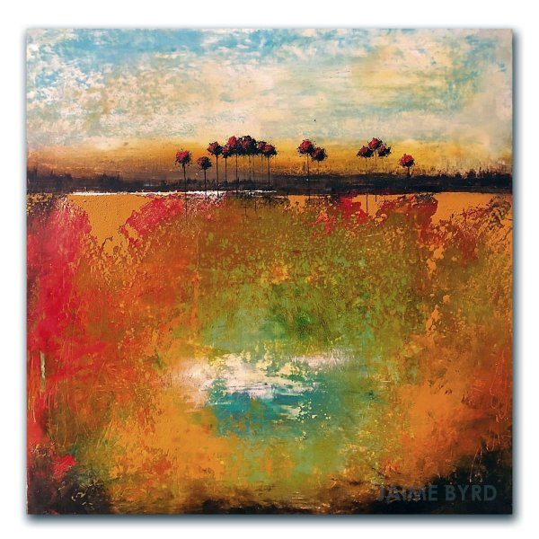 Happy Cove - oil and cold wax abstract landscape by contemporary artist Jaime Byrd