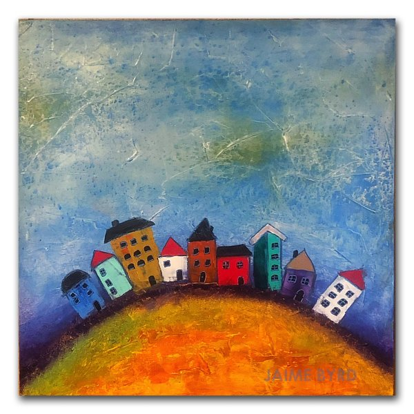 Happy Home - abstract oil and cold wax painting with buildings by contemporary cryptoartist Jaime Byrd