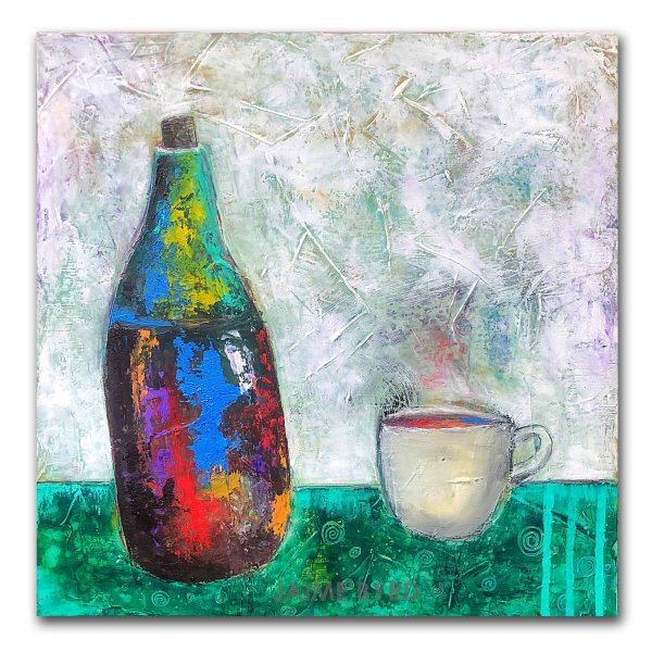 Happy Juice - abstract oil and cold wax painting about wine by crypto artist Jaime Byrd