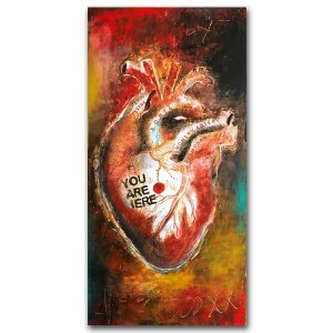 You Are Here - oil and cold wax and mixed media painting of anatomical heart by contemporary artist Jaime Byrd