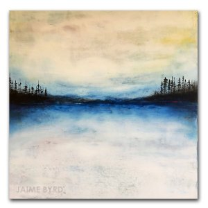 Ozark No. 9 - oil and cold wax abstract blue landscape painting by contemporary artist Jaime Byrd