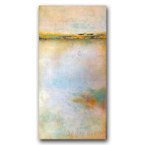 Clear Day - abstract oil and cold wax landscape painting by contemporary artist Jaime Byrd